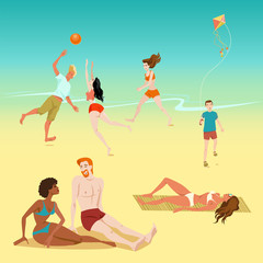 Illustration of people relaxing on the beach. Boy with a kite. Young people playing volleyball. Sunbathing people.