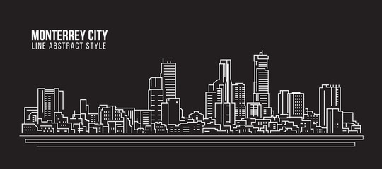 Cityscape Building Line art Vector Illustration design - Monterrey city
