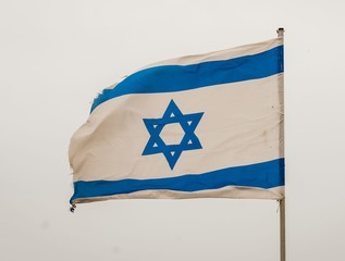 TEL AVIV, ISRAEL. May 6, 2014. Israeli national flag on the Independence day of Israel. Yom Haatzmaut stock image.