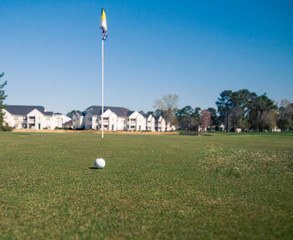 golfball and flag