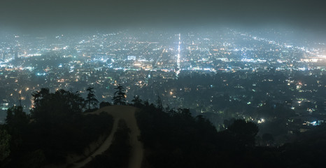Hazy city lights of Los angeles at night