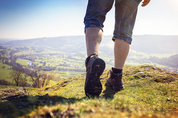 Hiking on a mountain trail