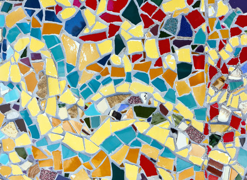 Abstract mosaic tile section.