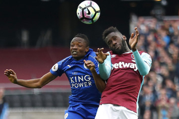 Leicester City's Ahmed Musa in action with West Ham United's Arthur Masuaku