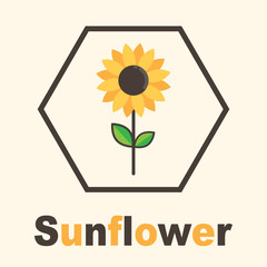 cartoon sunflower label