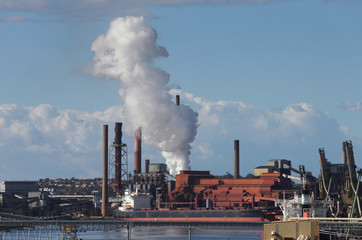 A cloud rises from the Port Kembla steelworks in Wollongong