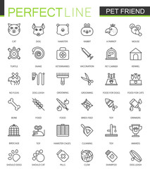 Pet friend thin line web icons set. Pet shop stroke outline icon design.