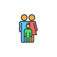 Family filled outline icon, line vector sign, linear colorful pictogram. Symbol, logo illustration. Pixel perfect