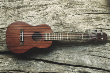 Close-up ukulele on wood background.