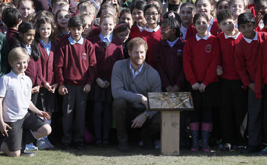 Britain's Prince Harry poses for a photograph with school children as he officially unveiled a plaque in Epping Forest near London
