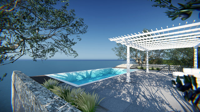 3d modern contemporary balcony sea view