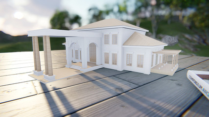 3d render from imagine house model evening light