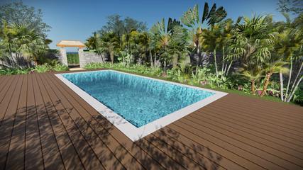 3d render pool tropical fresh