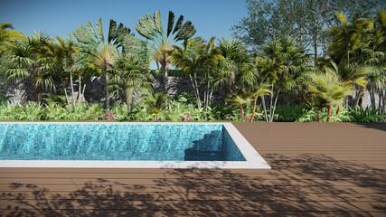 3d render pool tropical elevation