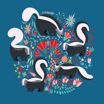 Illustration in flat style with cartoon floral elements, flowers and skunks. Cute colorful postcard design.