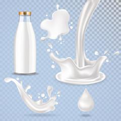 Realistic vector glass milk bottle, milk drop, milk splash and pouring milk illustration.