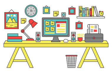 Vector illustration of a computer placed on an office desk. Flat color line style.