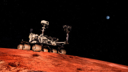 Extremely detailed and realistic high resolution 3D image of Space Exploration Vehicle Curiosity searching for life on Mars. Shot from outer space. Elements of this image are furnished by NASA.