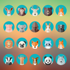 Flat Style Vector Animal Portraits or Avatars Icon Set with Blurred Abstract Background