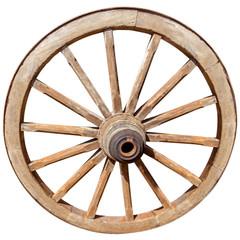 roue en bois de charrette, fond blanc