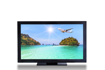 television TV screen with airplane landing above sea landscape picture isolated on white background