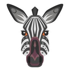 Zebra Head Logo. Vector decorative Emblem.