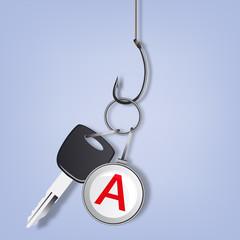 Permis de conduire - auto école - voiture - jeune conducteur - clé de voiture - hameçon