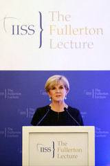 Australia's Foreign Minister Julie Bishop speaks during the 28th IISS Fullerton Lecture in Singapore