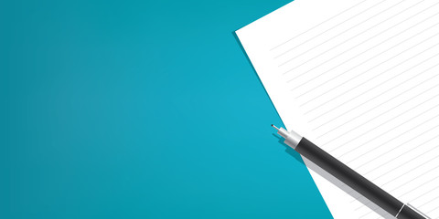 The pen is placed above the line paper on a blue background illustration vector, Education concept.
