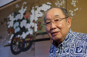 Former internment detainee Kanji Sahara, 82, poses for a picture at his home in Torrance