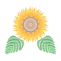 Embroidery patch with sunflower. Vector fashion embroidered floral ornament, fancywork pattern for textile, fabric traditional folk decoration.