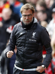 Liverpool manager Juergen Klopp celebrates after Liverpool's Sadio Mane (not pictured) scores their first goal