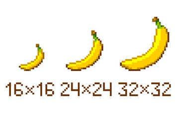 Pixel art banana icon isolated on white background