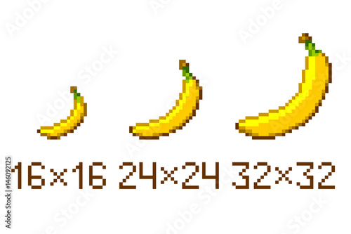 pixel art banana icon isolated on white background stock image and royalty free vector files. Black Bedroom Furniture Sets. Home Design Ideas