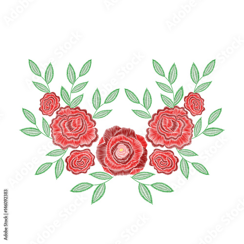 Embroidery Stitches With Rose Flowers For Neckline Vector Fashion