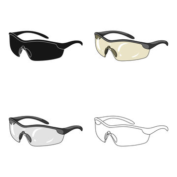 Protection for the eyes of cyclists from falling rocks.Cyclist outfit single icon in cartoon style vector symbol stock illustration.
