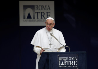 Pope Francis talks during a meeting at the University Roma Tre in Rome