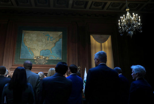 An old map of the United States is seen at the Environmental Protection Agency (EPA) headquarters, as guests wait for the arrival of U.S. President Donald Trump prior to signing of an executive order