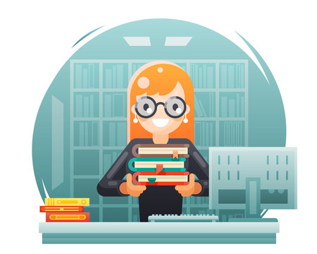 library knowledge education learning librarian girl holding book flat design vector illustration