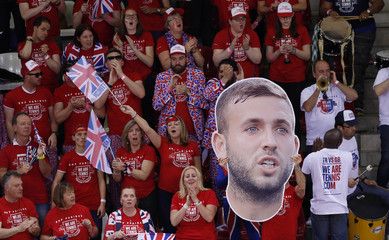 Great Britain fans display a picture Dan Evans during his Quarter Final match against France's Jeremy Chardy