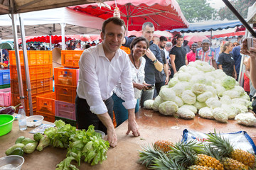 Emmanuel Macron, head of the political movement En Marche ! (Onwards !) and 2017 presidential candidate of the French centre-right visits the Chaudron market in Saint-Denis as he campaigns on the French Indian Ocean island of the Reunion