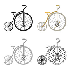Vintage bicycle. The first bicycle. Huge and small wheel.Different Bicycle single icon in cartoon style vector symbol stock illustration.