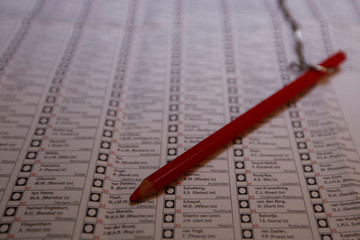 A ballot and a red pencil are pictured in Amsterdam