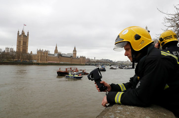 Members of the emergency services look at the river after a man fell off  Westminster Bridge into the Thames in London