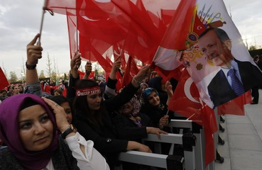 Supporters of Turkish President Tayyip Erdogan wave national flags as they for his arrival at the Presidential Palace in Ankara