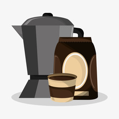 set metallic jar and bag of coffee vector illustration