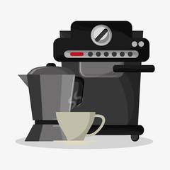 Coffee espresso machine with metallic jar with handle and mug vector illustration