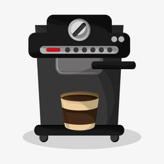 coffee espresso machine and glass disponsable vector illustration