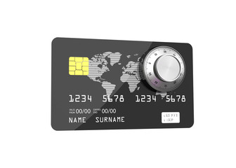 Credit card with Combination Lock, Online Banking Protection. 3D illustration