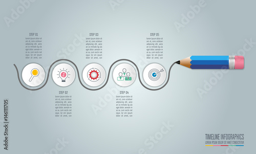 Education Infographics Template Step Option Timeline Infographic - Free timeline infographic template